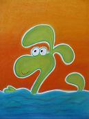 flap zwemt in de golven